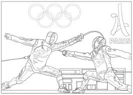 Coloring Page For The 2024 Paris Olympic Games Fencing