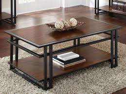 Coffee Table Interesting Dark Brwon Rectangle Rustic Cherry Wood With Storage Idea To