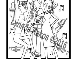 Printable Coloring Page Jazz Party An Adult