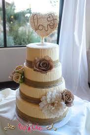 Wedding Cake 4 Tier Rustic Love Burlap Flowers Buttercream Pixy Cakes