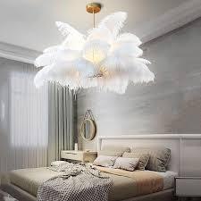 großhandel nordic ld pendelleuchten natürliche strauß feder loft led pendelleuchte schlafzimmer wohnzimmer restaurant beleuchtung deco hängele
