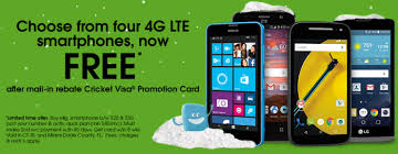 Cricket Wireless Choice of FOUR Free 4G LTE Smartphones After