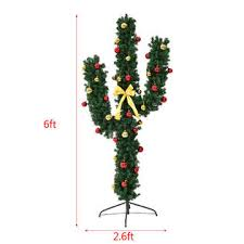 6ft Christmas Tree With Decorations by Goplus 6ft Pre Lit Artificial Cactus Christmas Tree W Led Lights