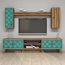 wohnwand foster für tvs bis zu 70 scanmod design farbe walnuss türkis