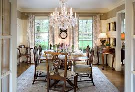 Farmhouse Dining Room Chandelier Traditional With Window Treatments Wall Art Crystal
