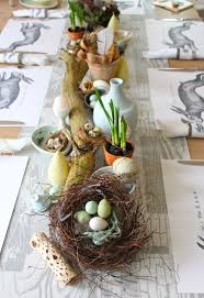 Easter Or Spring Table Centerpiece With Dried Log Bird Nests Eggs Potted Bulbs