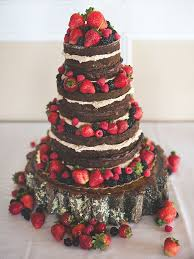 Chocolate Naked Wedding Cake With Strawberries