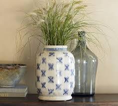 Blue Ikat Terra Cotta Vase