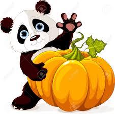 Panda Pumpkin Designs by Cute Little Panda Holding Giant Pumpkin Royalty Free Cliparts