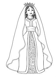 Purim Beautiful Esther The Queen In Coloring Page