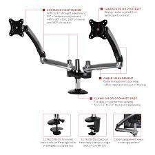 peerless height adjustable desktop mount for dual 19 30 inch