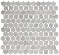 inch hexagon carrara white marble tile in offset pattern