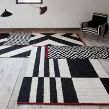 Opal Modern Area Rug In Grey Black Made Leather Scan