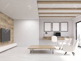 wohnzimmer interieur in weiß wohnung mit fernseher hängen holzwand zwei sessel und arbeitsecke konzept der komfortablen zuhause 3d rendering