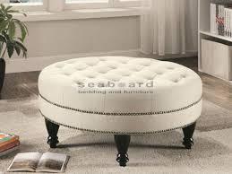 Milari Linen Queen Sofa Sleeper by Coaster Round Oatmeal Linen Tufted Ottoman 500018