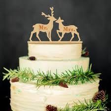Mr Mrs Wedding Cake Topper Wood Deer Moose Rustic Vintage Christmas