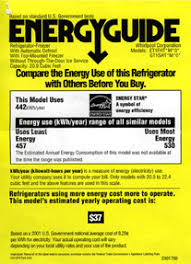 Energy Guide Fridge Label