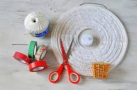 Stuff Youll Need Round Paper Lantern Electric Candle Cotton Twine Masking Tape Darning Needle Small Basket And Scissors