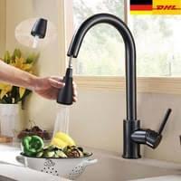 küchenarmatur mit 2 strahlen wasserhahn küche ausziehbar spültischarmatur edelstahl armatur küche mit brause mischbatterie küche armatur de
