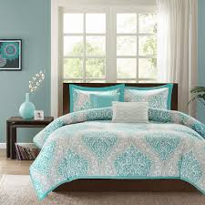 Twin Horse Bedding by Teal Blue Grey Damask Scroll Print Teen Bedding Twin Full