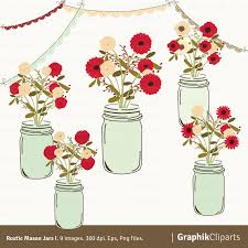 Rustic Mason Jars I Balls Floral Clipart Wedding Invitation 9 Images 300 Dpi Eps Png Files Instant Download