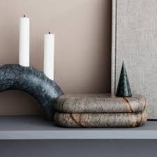 ferm living marmor deko bäume 3er set grün schwarz braun