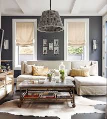 Gray Color Scheme Living Room Cowhide Rug Rustic Palette Fur
