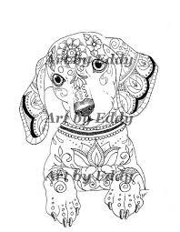 Art Of Dachshund Single Coloring Page Por ArtByEddy En Etsy