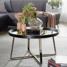 wohnling couchtisch ø 78 cm gold mit glasplatte wohnzimmertisch schwarz metall gestell großer beistelltisch