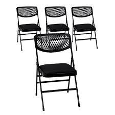 Cosco Black Fabric Padded Seat Folding Chair (Set Of 4)