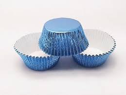48 SKY BLUE Foil Cupcake Liners Standard Size Baking Cups Light Blue