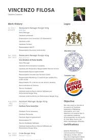 Restaurant Manager Burger King Resume Example