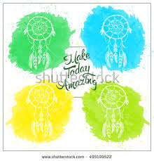 Hand Draw Rustic Dream Catcher Vector Illustration On White Background Colored Watercolor Greeting Card In