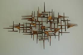 Premium Design Mid Century Modern Metal Wall Art Tropical Theme Fascinating Beautiful Panel Condition Few Minor