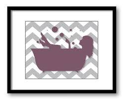 Bathroom Decor Print Plum Purple Grey Gray Girl With Long Hair In A Bathtub Tub