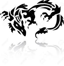 A Very Nice Tribal Chinese Dragon Tattoo Stock Vector