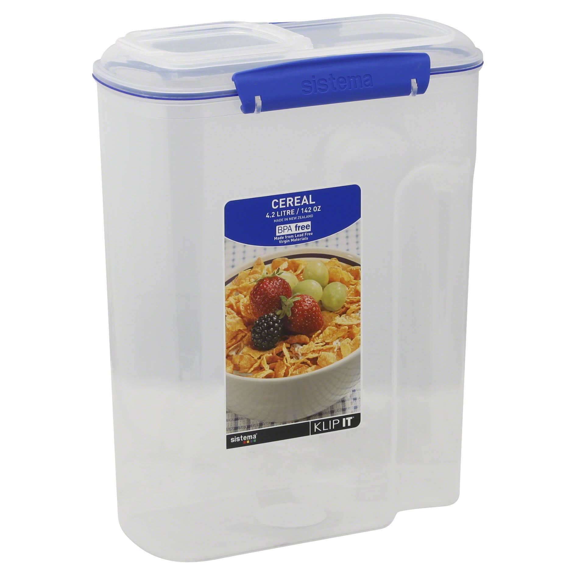 Sistema Klip It Cereal Container - Clear, 4.2l