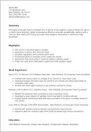 1 Corporate Travel Consultant Resume Templates Try Them Now Rh Myperfectresume Com Agent Example Manager