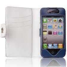 etui housse cuir iphone 4 s bleu blanc fourreau portefeuille iphone 4