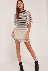 multi ribbed neck stripe t shirt dress missguided