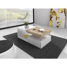 table basse avec rangement coloris blanc laqué et bois table