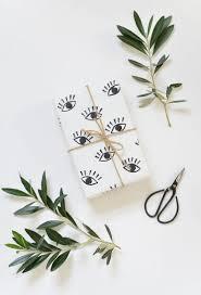 DIY Eye Stamped Wrapping Paper Via Burkatron