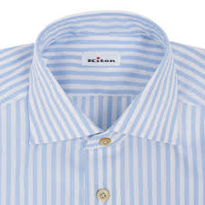 white blue striped riva cotton dress shirt kiton dress shirts