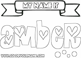 Printable Name Coloring Pages Amber