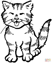 Click The Kitten Meowing Coloring Pages