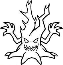 Scary Halloween Tree Coloring Pages