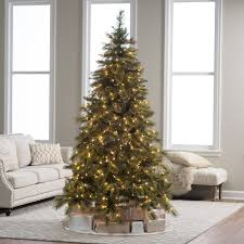 Hayneedle Flocked Christmas Trees by 7 5 Ft Pre Lit Mixed Needle Gold Glitter Cashmere Pine Christmas