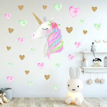 Cartoon Cute Unicorns Star Heart Wall Stickers Wallpaper DIY Vinyl Home Decals Kids Living Room