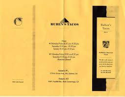 Magic Lamp Rancho Cucamonga Hours by Ruben U0027s Tacos Menu Menu For Ruben U0027s Tacos Upland Inland Empire