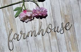 Farmhouse Word Sign Cursive Words Rustic Metal Letters